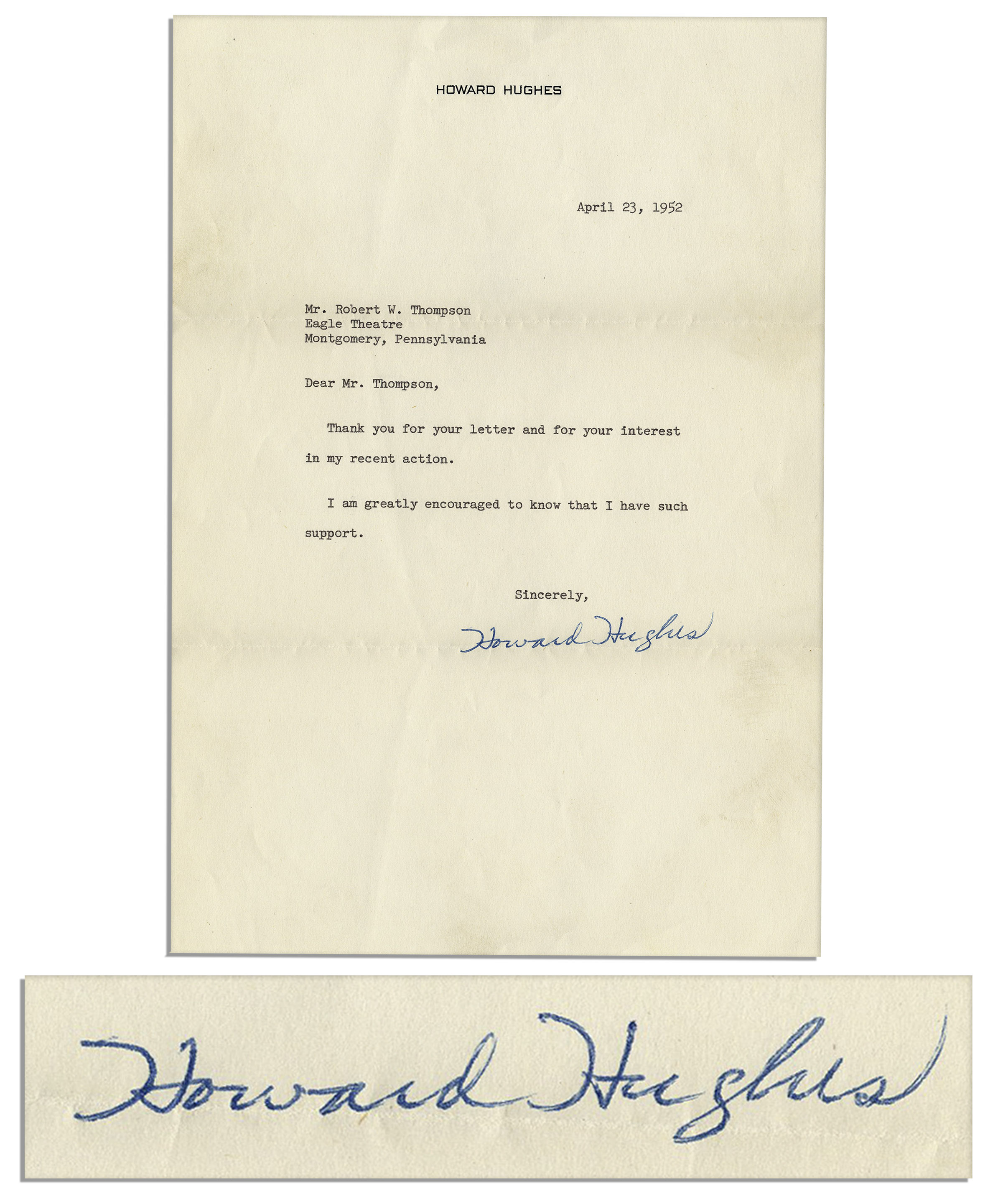 Howard Hughes Autograph