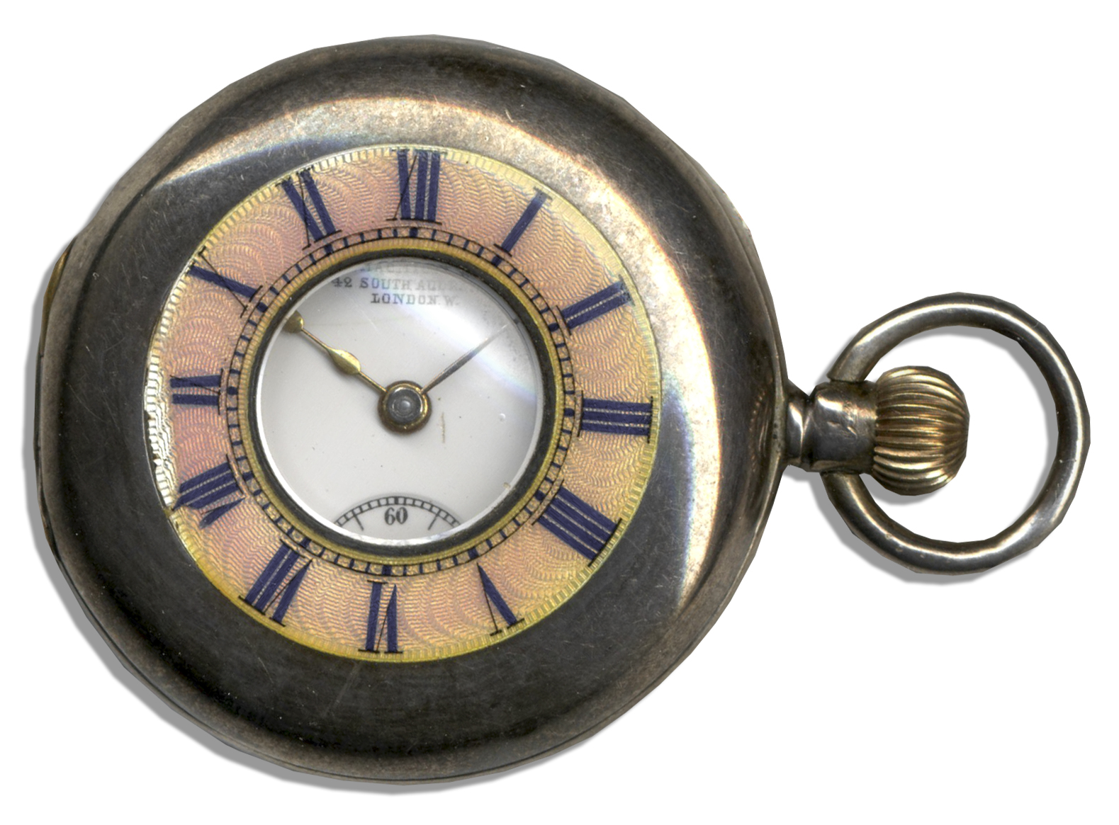King Edward Memorabilia Fob Watch Owned by The Duke & Duchess of Windsor -- Beautiful Timepiece by J. MacMichael -- In Metal Case With Guilloche & Enamel Lid