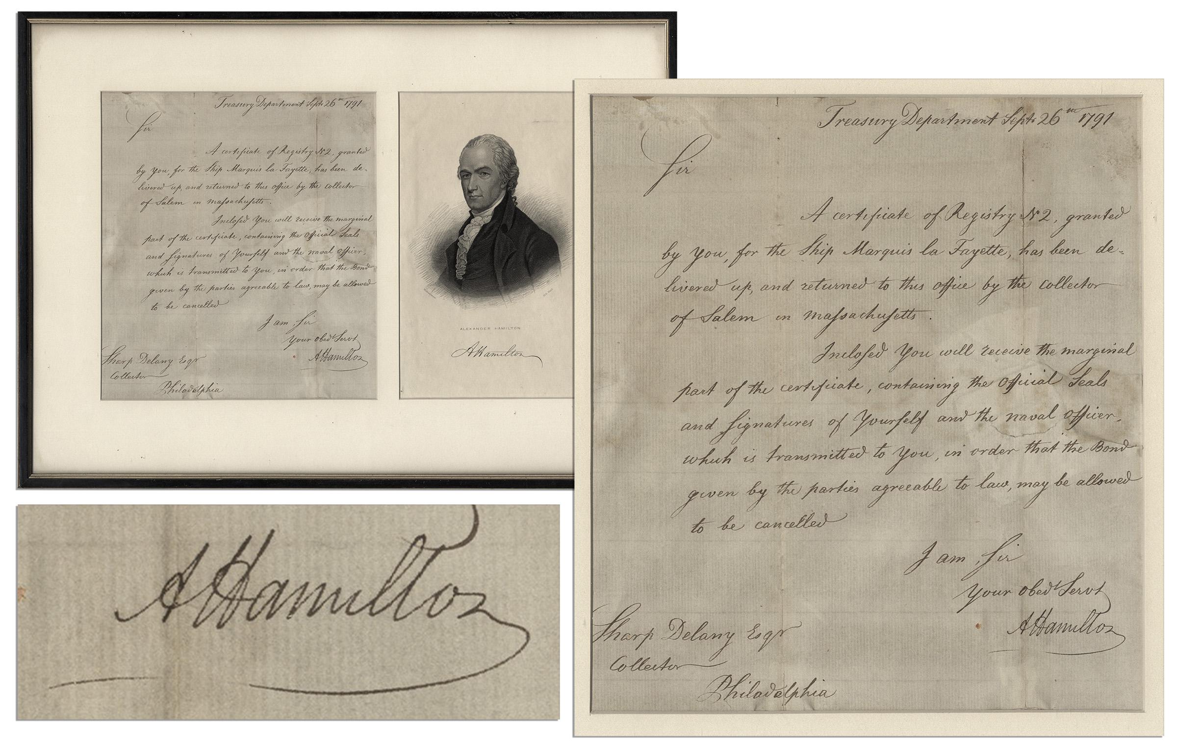 Alexander Hamilton autograph Nicely Framed Alexander Hamilton 1791 Autograph Letter Signed as Secretary of the Treasury