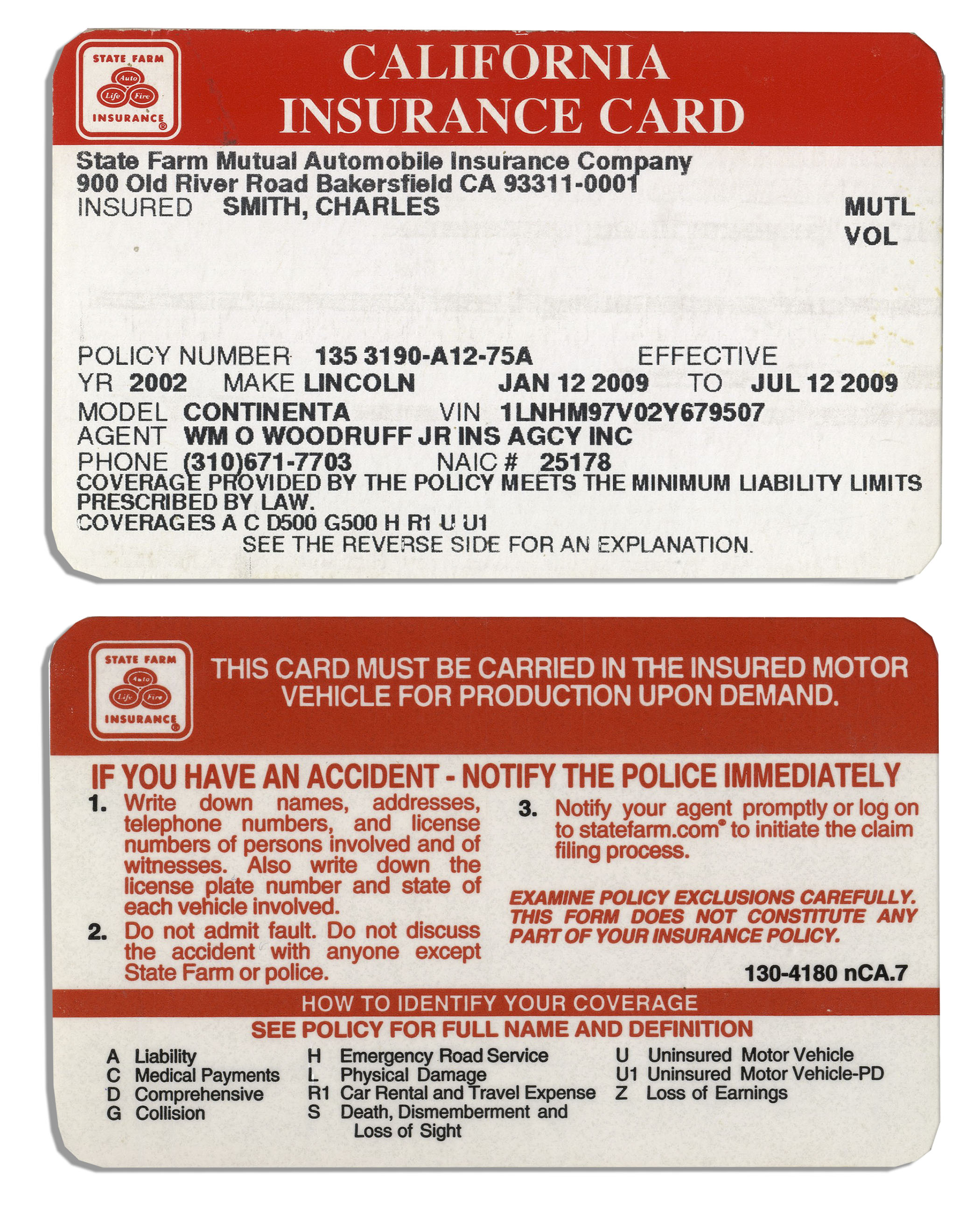 3 Insurance Cards Belonging To Charles ''Bubba'' Smith