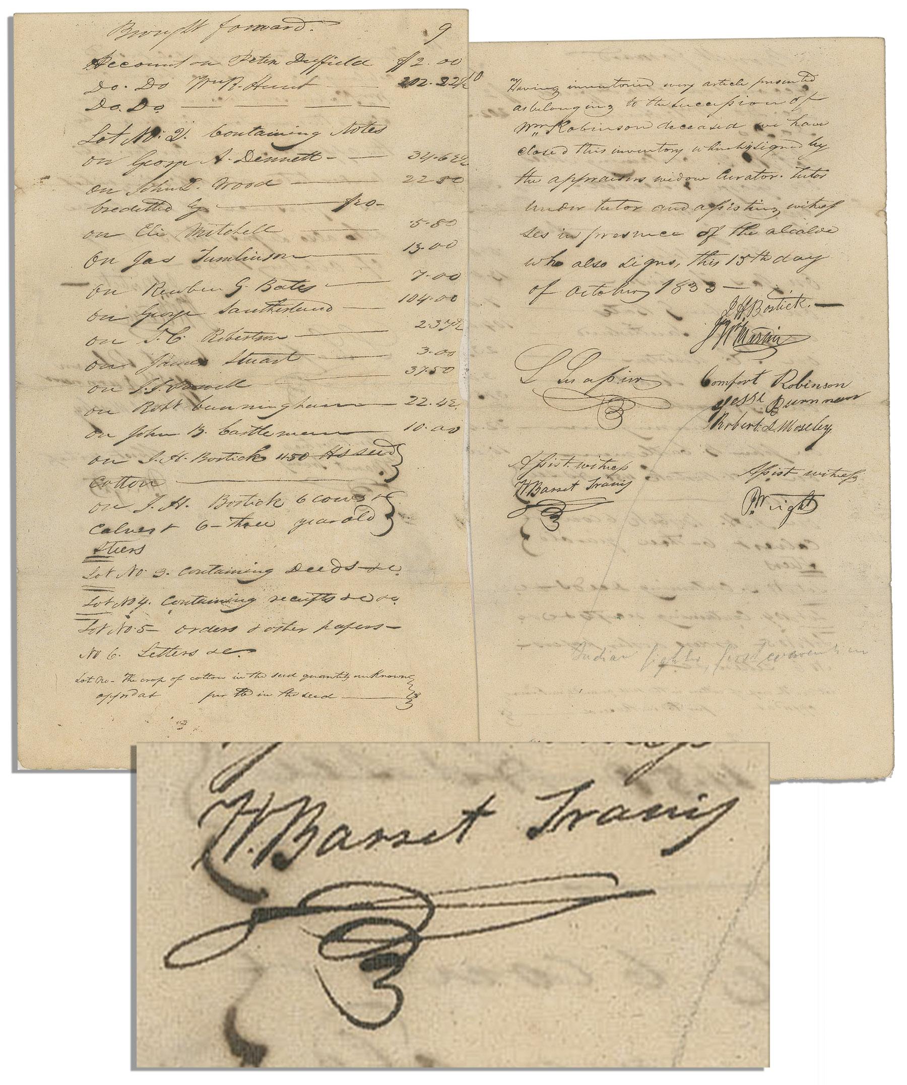 William Barret Travis autograph William Barret Travis 1833 Document Signed