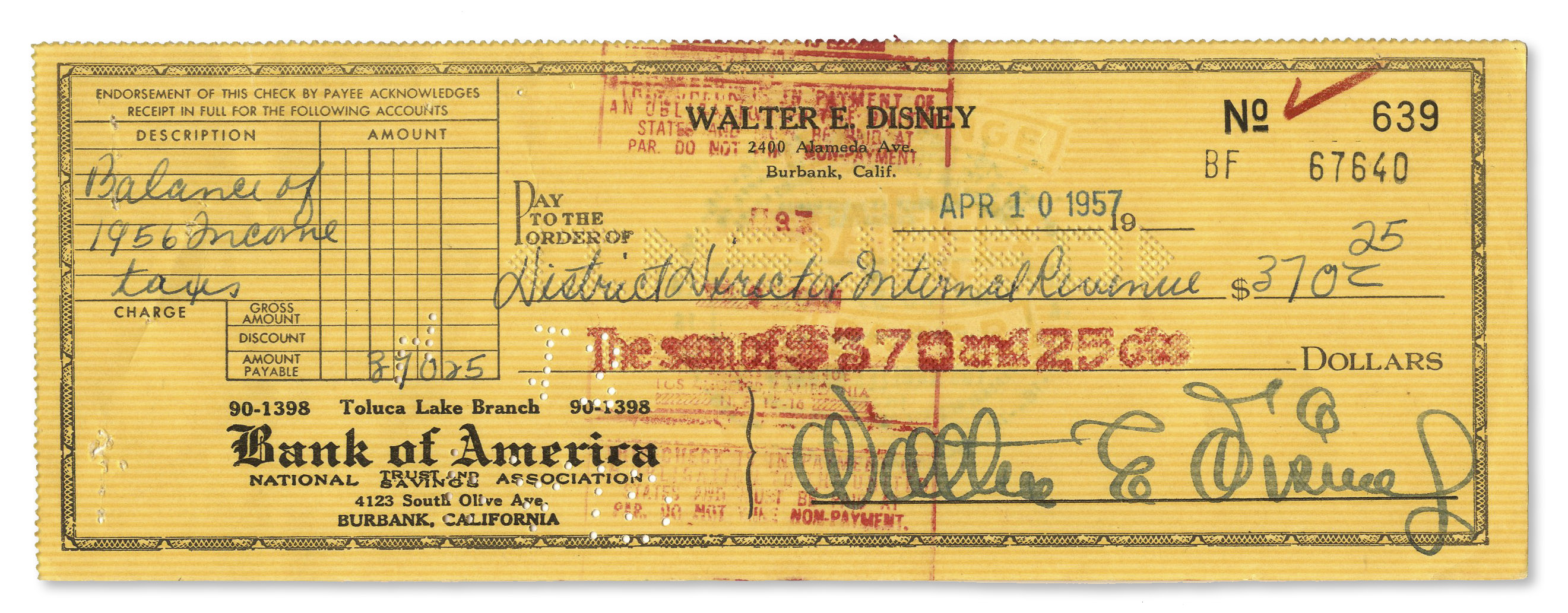 "Walt Disney Autograph Walt Disney Signed Check -- Signed ""Walter E. Disney"" in Famed Disney Handwriting"
