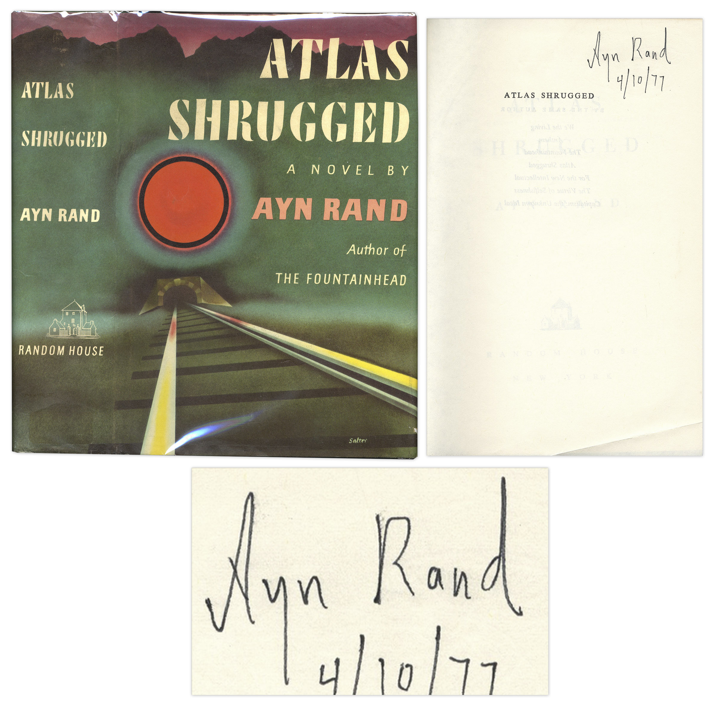 "Ayn Rand first edition Ayn Rand Signed ""Atlas Shrugged"""