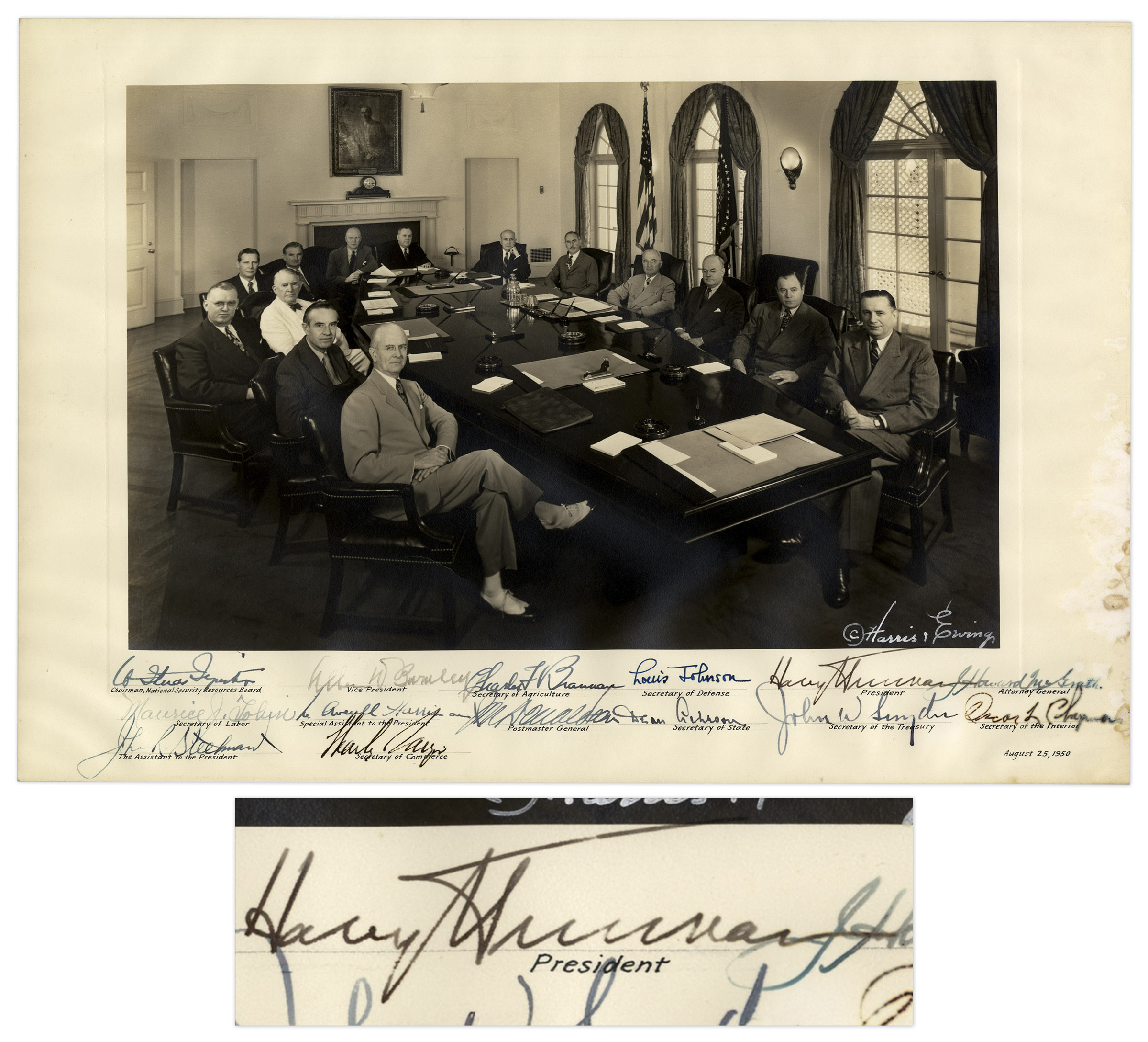 "Harry Truman Memorabilia Harry Truman Signed Photograph as President -- Also Signed by His Entire Cabinet -- Measures 16.5"" x 11"""