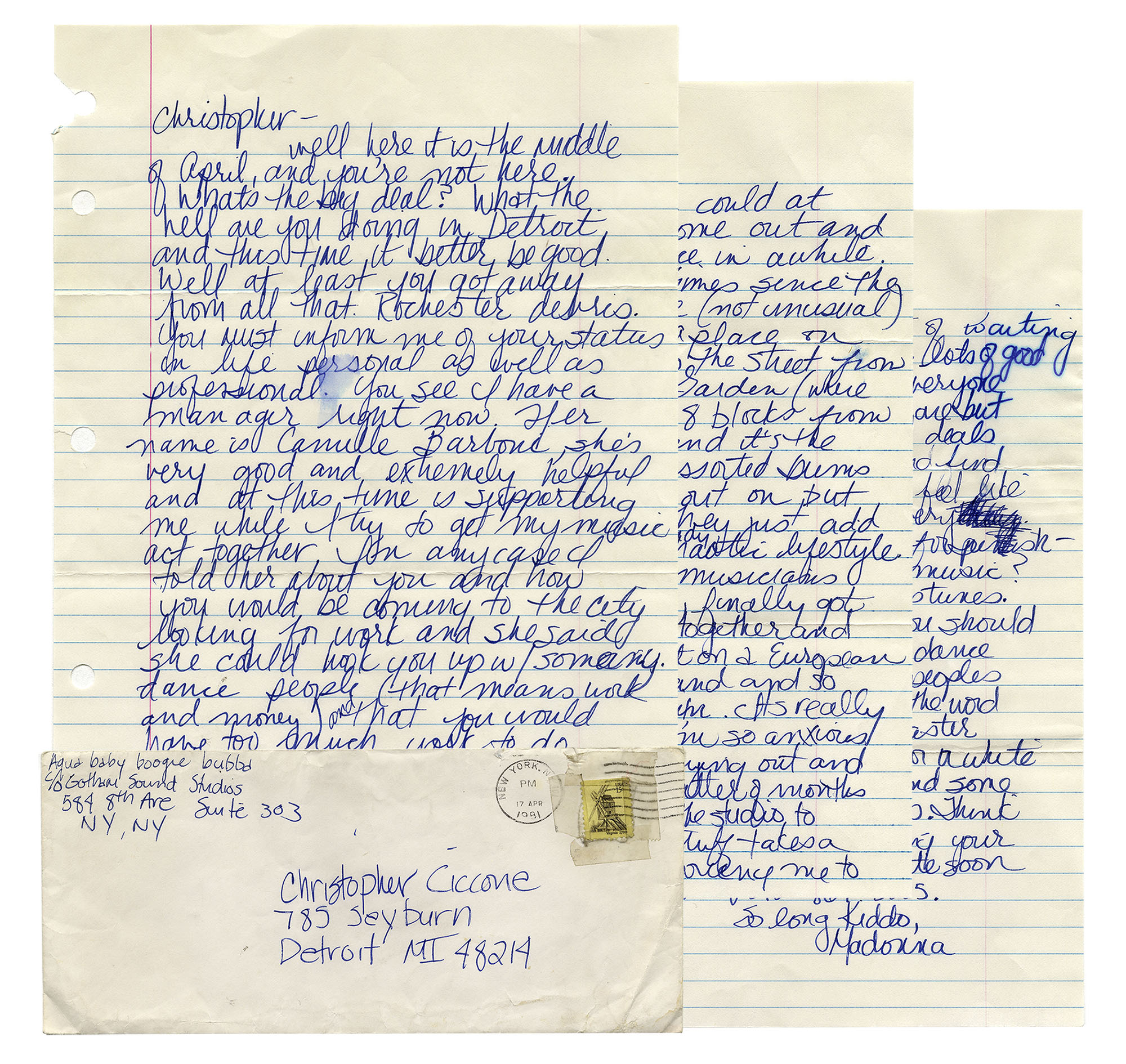 "Madonna Memorabilia Madonna Autograph Letter Signed From 1981, With Fantastic Content -- ""…I finally found a place on 8th and 30th across the street from Madison Square Garden (where someday I'll play)…"""