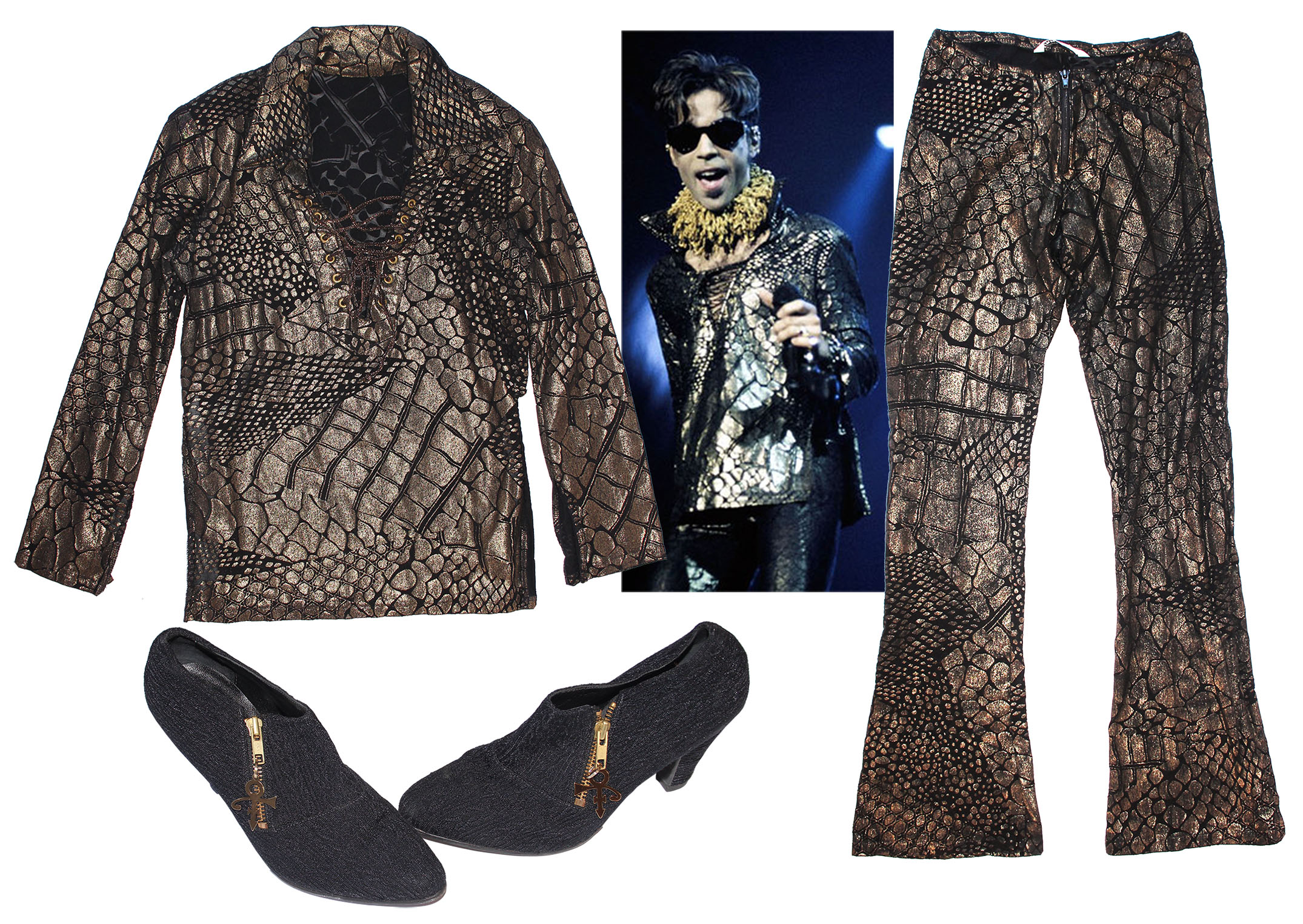 Prince worn shirt Prince Stage-Worn Black & Gold Costume -- With Shoes Adorned With His Love Symbol