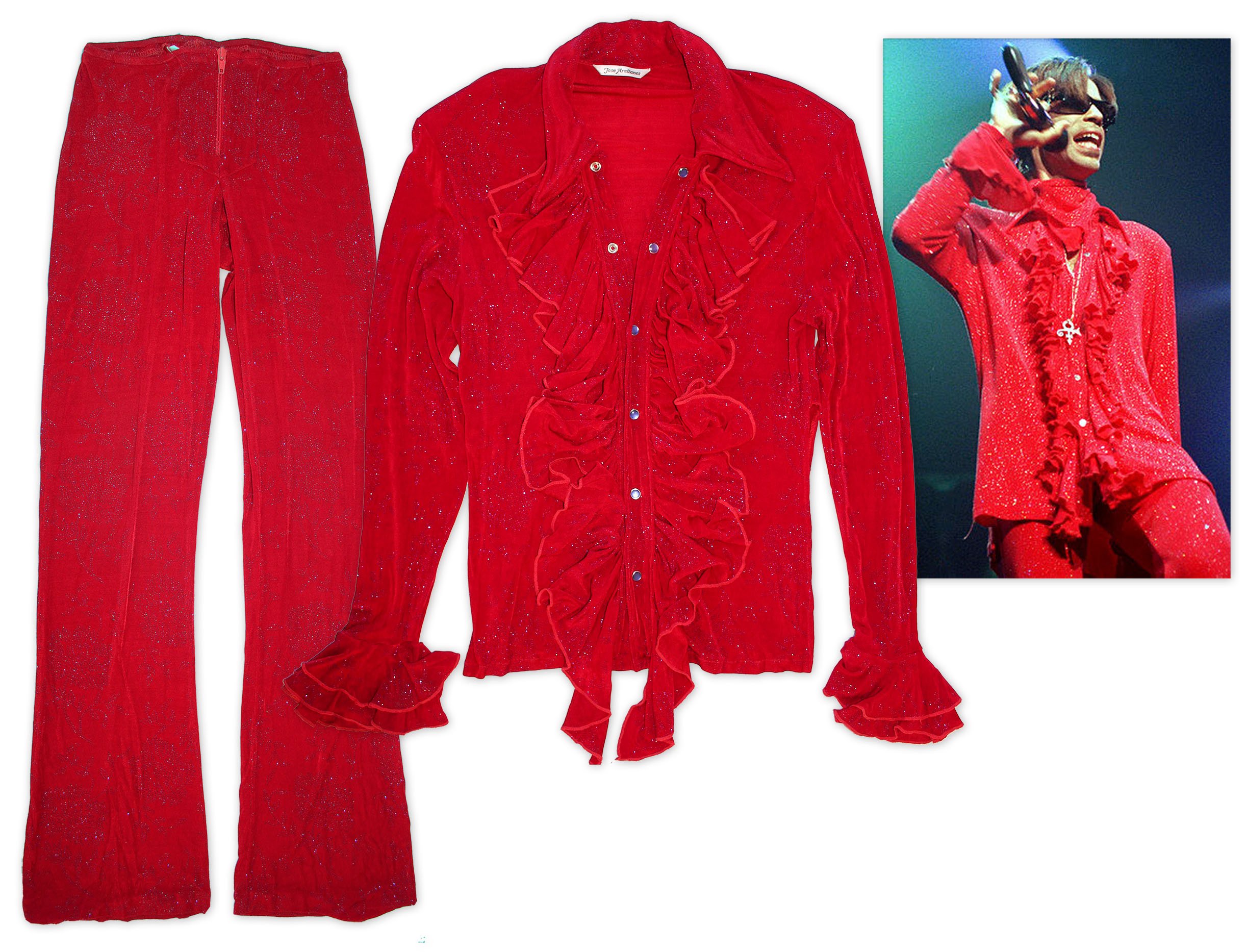 "Prince stage worn costume Prince Stage-Worn Red Costume -- Also Worn on the Album Cover of Prince's Album ""Newpower Soul"""