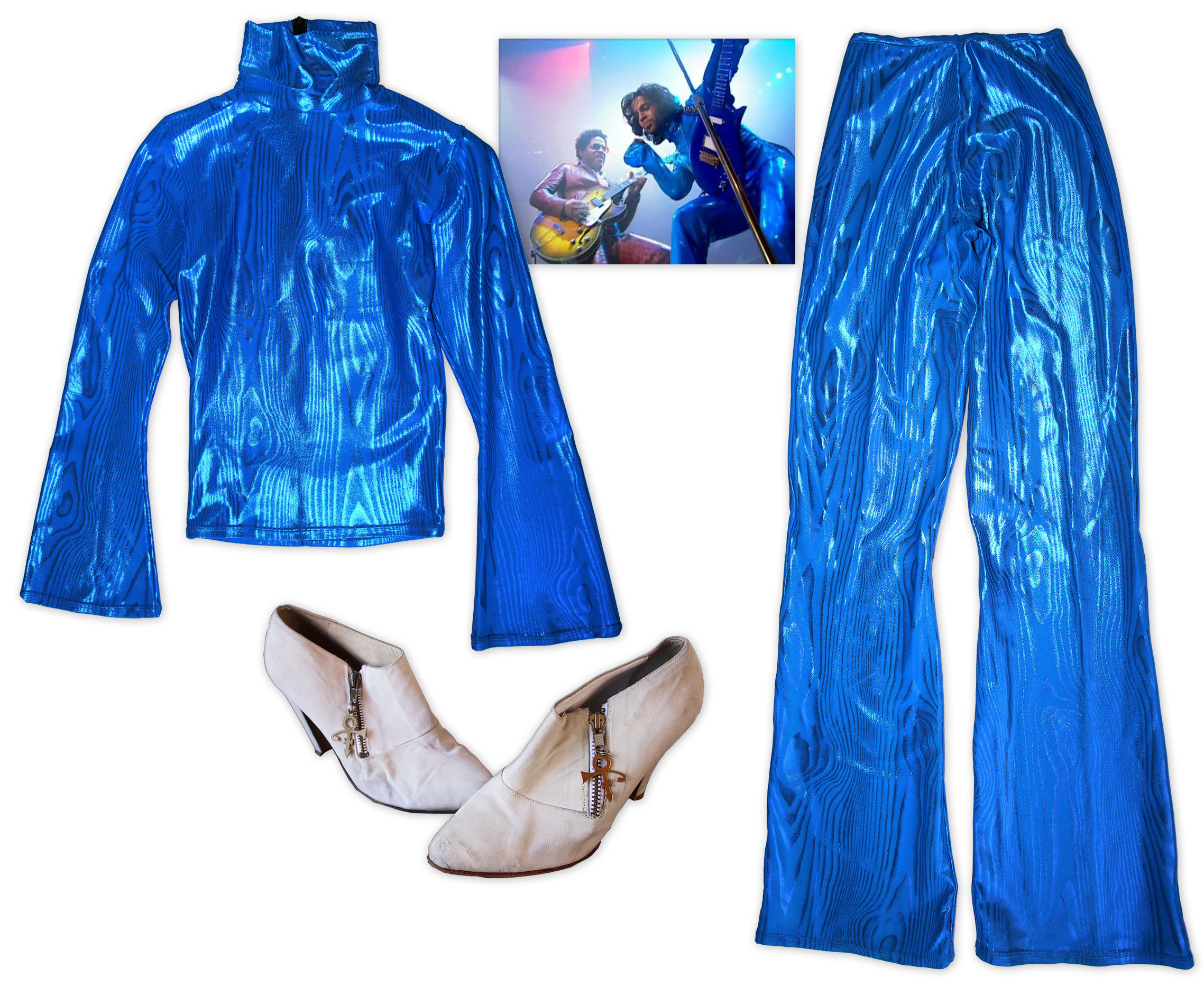 "Prince stage worn costume Prince Worn Electric Blue Shirt & Pants With Beige Shoes -- Worn on the Cover of His 1999 Album ""Rave Un2 The Joy Fantastic"" & Also Onstage With Lenny Kravitz Performing ""American Woman"""