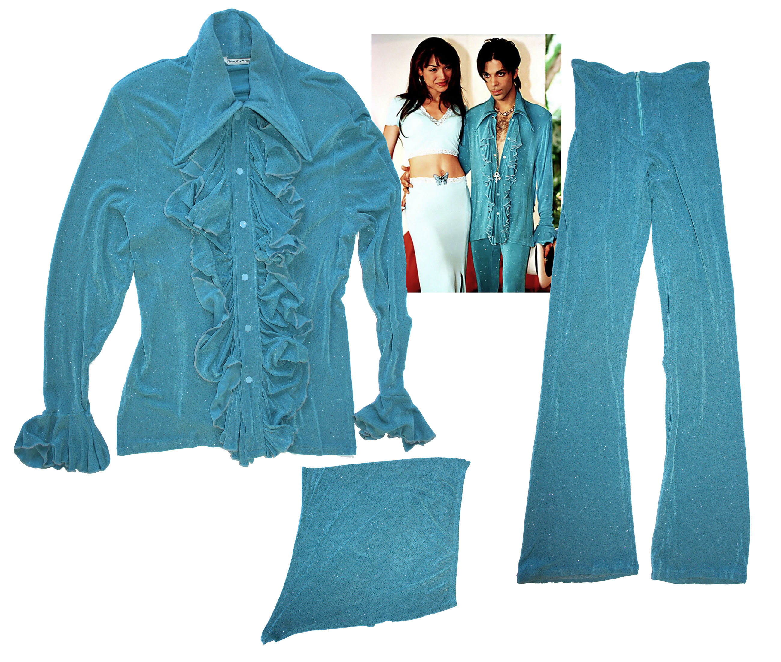 Prince stage worn costume Prince Worn Turquoise 3-Piece Outfit -- His Signature Outfit in His Favorite Style -- Worn During His Press Conference in 1998 in Marbella, Spain