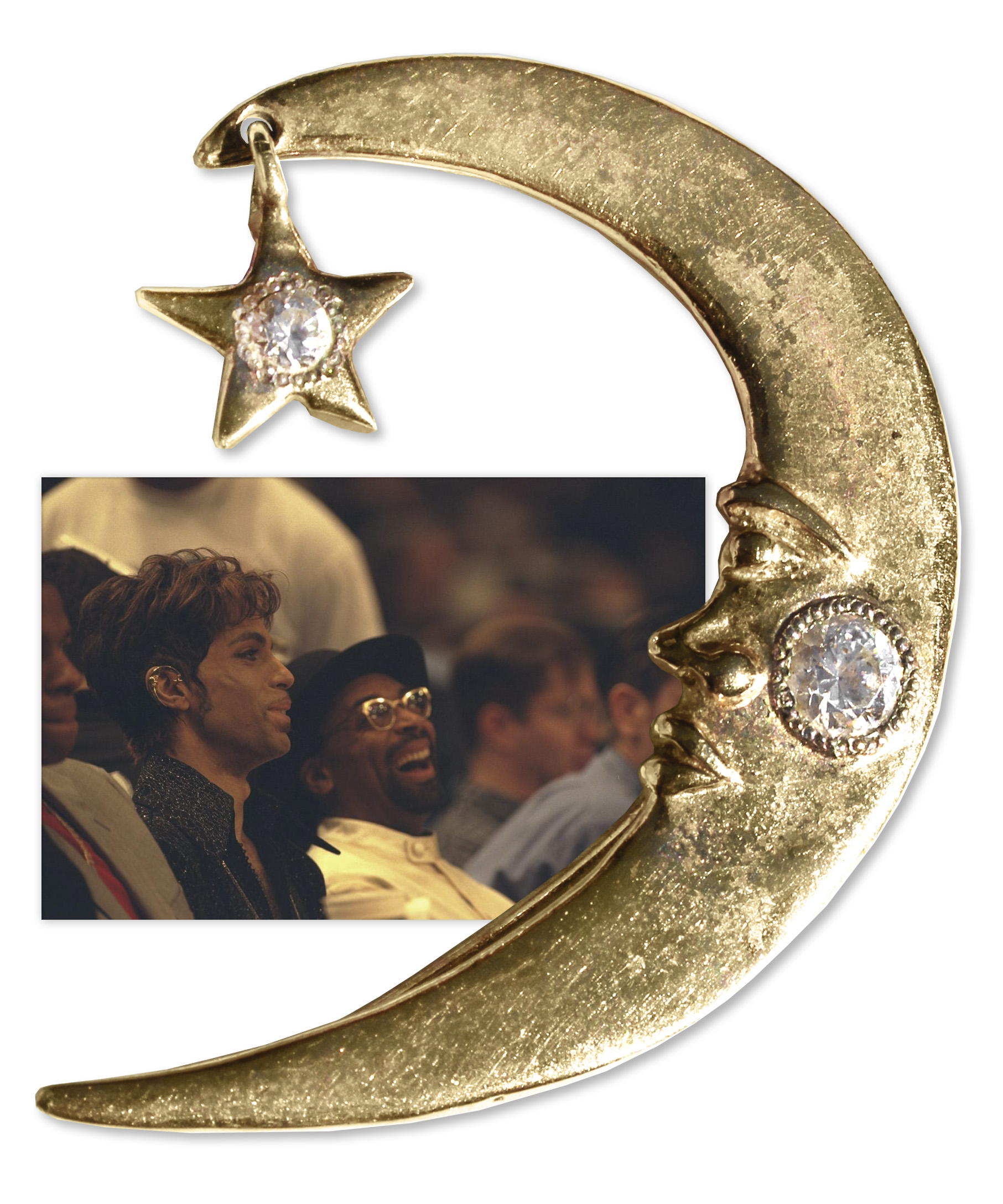 Prince Worn Jewelry Moon & Star Ear Wrap Worn by Prince -- Worn at 1998 NBA All-Star Game With Spike Lee