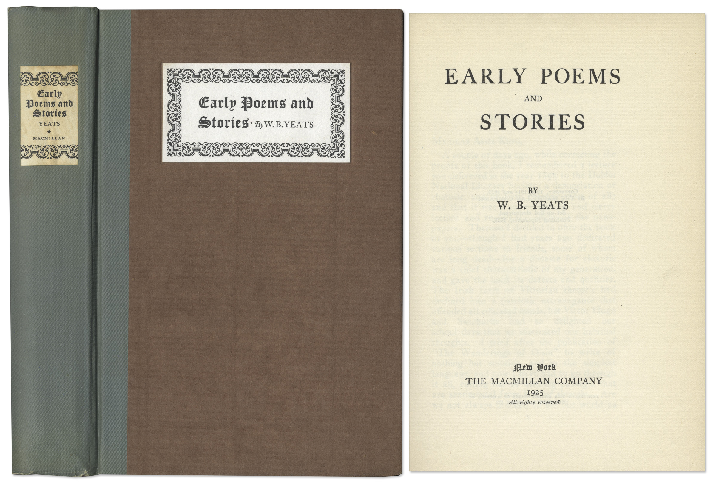 WB Yeats Early Poems and Stories signed limited edition