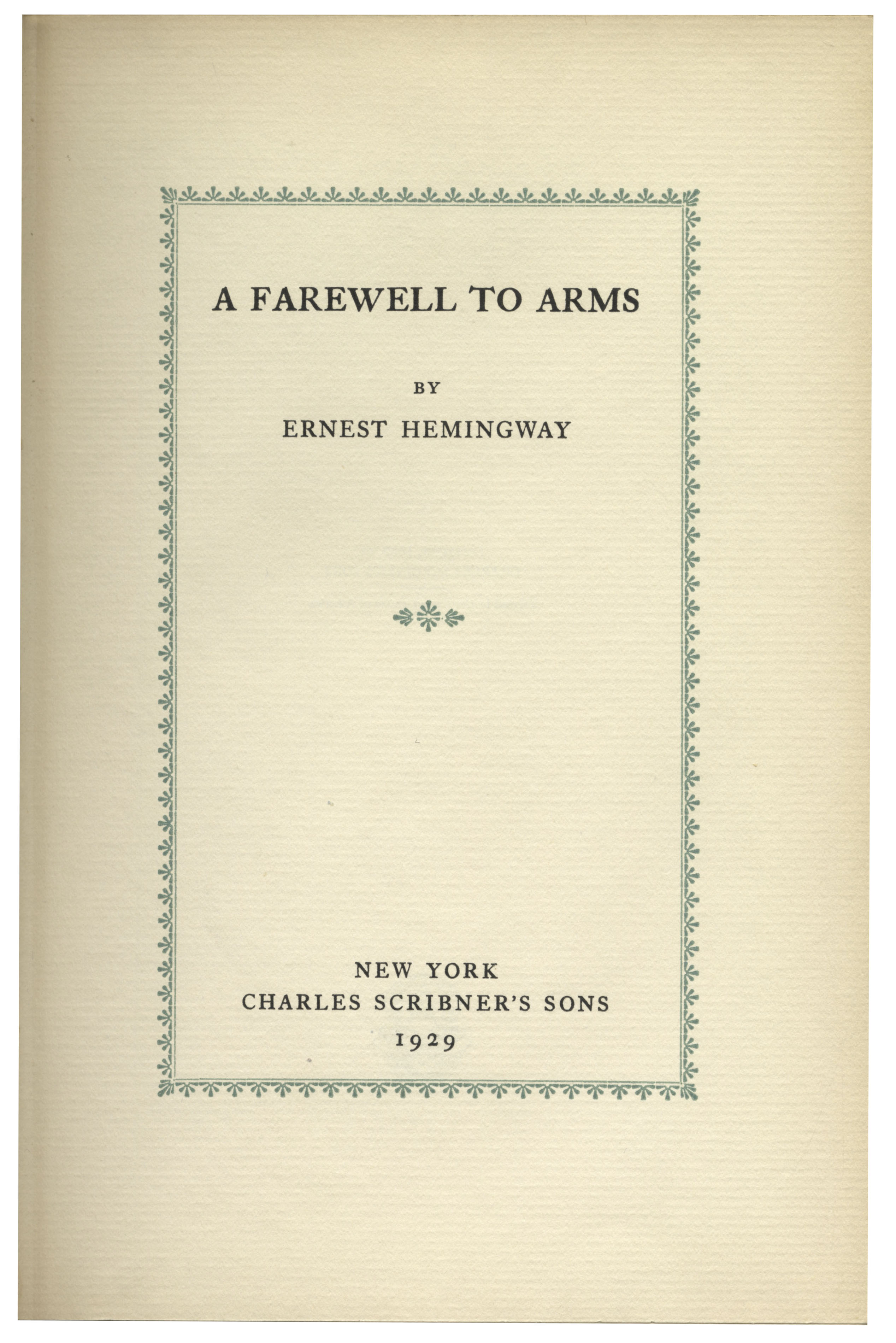 farewell arms ernest hemingway essay Essays & papers a farewell to arms: in search of in search of a sense of life ernest hemingway is one of the most famed american writers of our time - a farewell to arms: pseudoautobiography and personal metaphor ernest hemingway's a farewell to arms ed harold bloom.