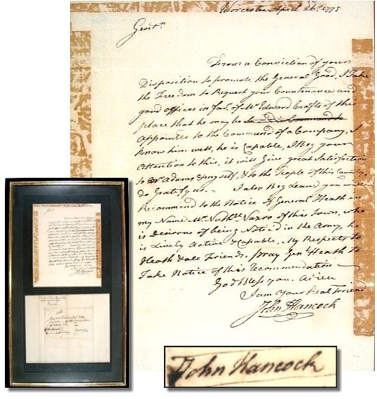 John Hancock Autograph John Hancock 1776 Signed Autograph Letter