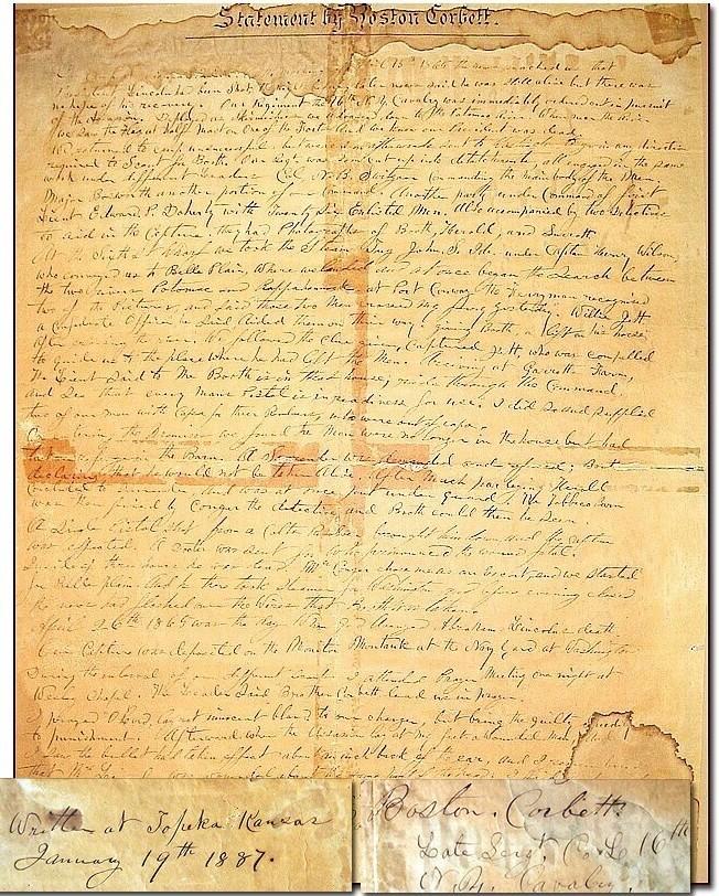 Boston Corbett Autograph