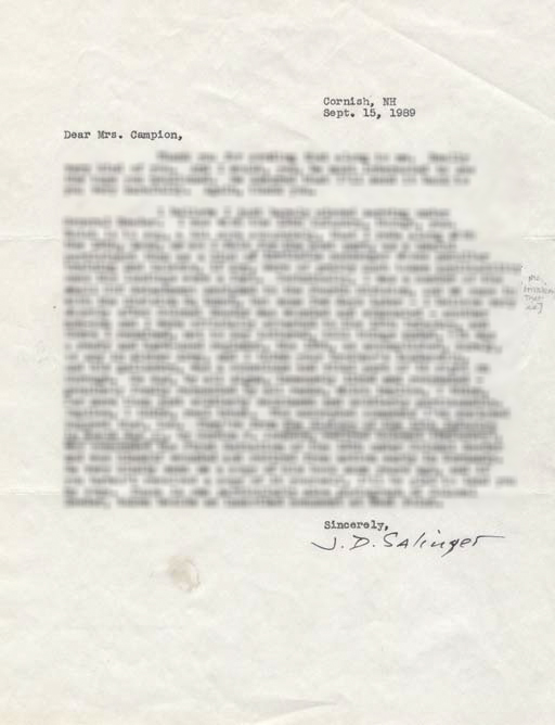 J.D. Salinger autograph letter signed